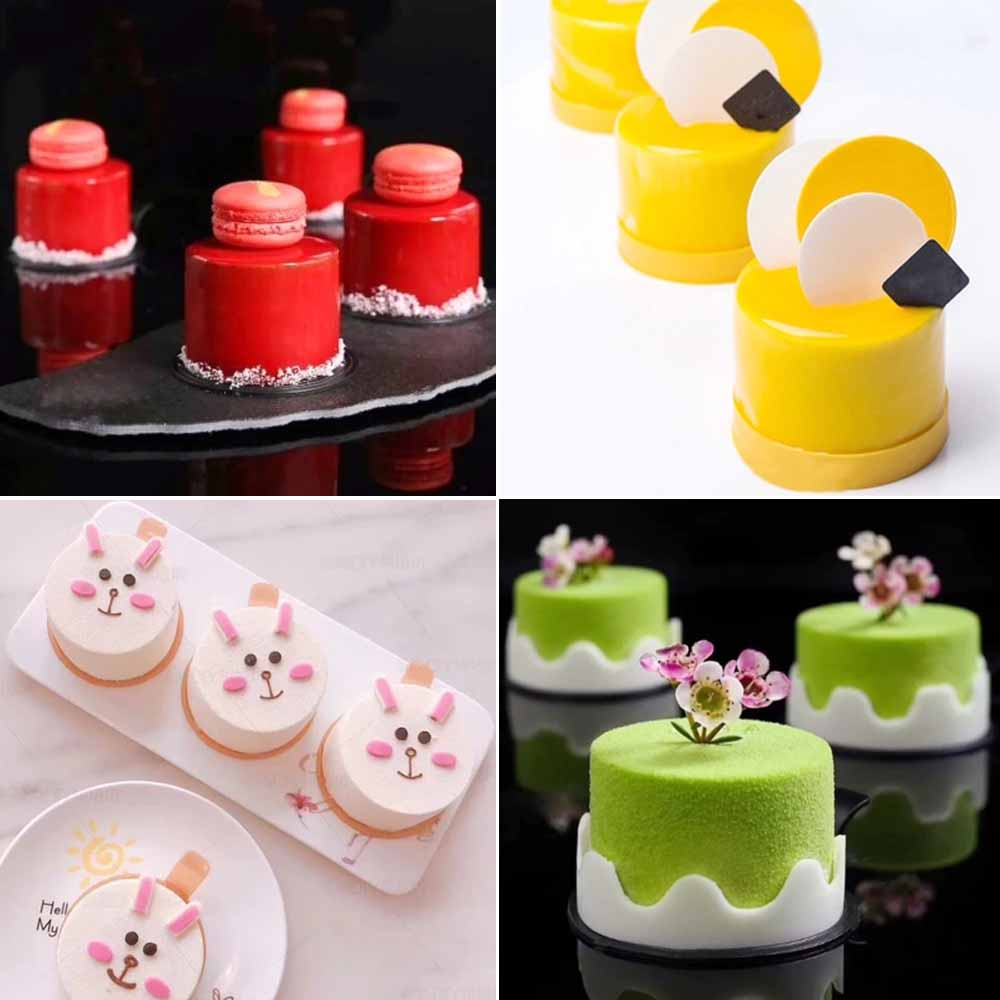 5 Cavitie Cylinder Shaped Dessert Cake Silicone Mold Non Stick