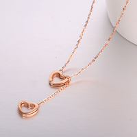 Robira Top Quality Heart to Heart Pendant Necklace 18K Rose Real Gold Color Double Necklace Fine Jewelry For Women Wholesale