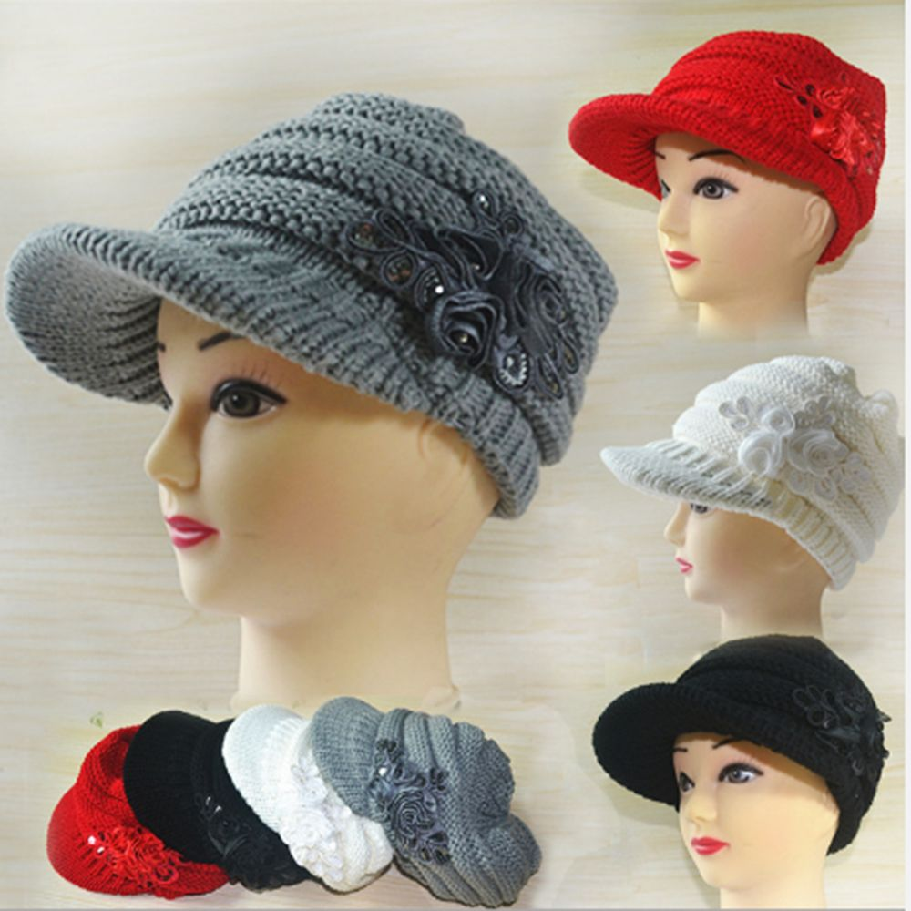 Women's Fashion Cute Knitted Autumn Winter Warm Hat Peaked Cap with Flower