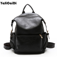 Fashion PU Leather Women Backpack Large Laptop Backpack Schoolbags For Teenager Girls Vintange Oil Leather Women