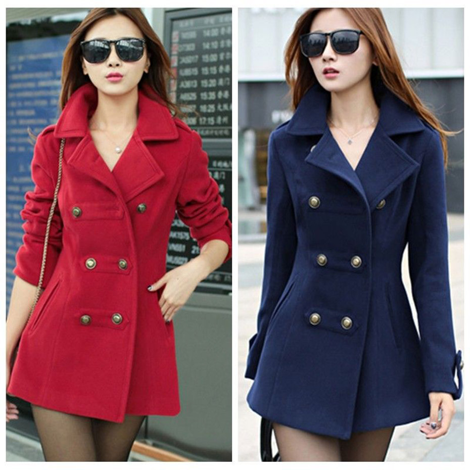 ZOGAA Fashion Double Breasted Women Woolen   Trench   Coat Autumn Winter Suit Collar Loose Middle Long Slim Fit Outerwear Overcoat