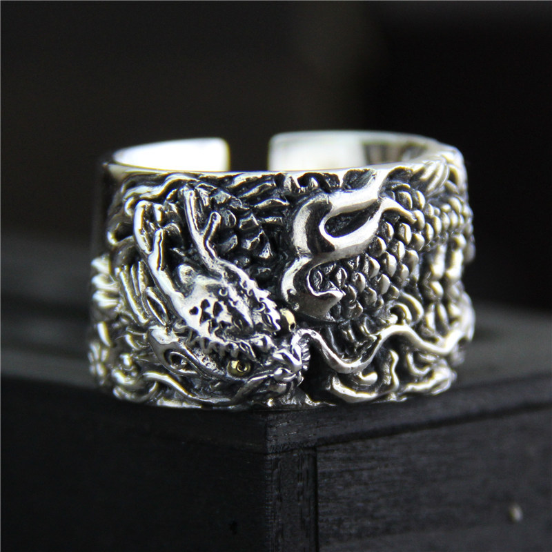 C&R 925 Pure Sterling Silver Rings for men vintage ring Thai silver carved dragon Patter ...