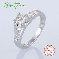 925 Sterling Silver White Rhodium Plated White Cubic Zirconia CZ Ring