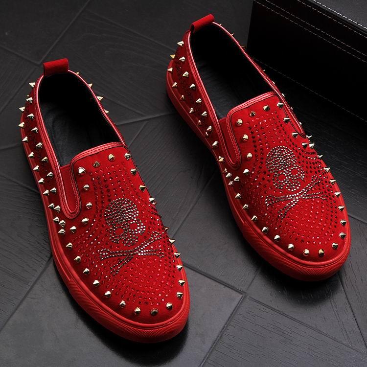 Rivets Charm Fashion Forward Men Casual Comfort Shoes Red Slip On Rhinestone Skull Charm Man Leisure Boast Shoes 38-43 3