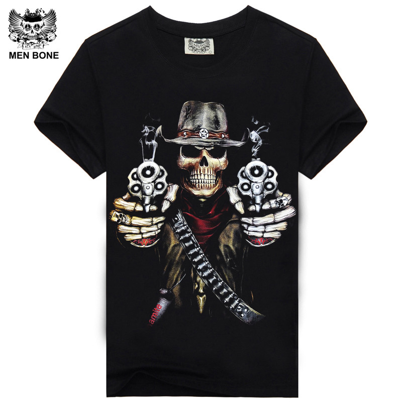 [Men bone] Hot 100% Cotton T-shirt Male Fashion Brand rock punish punk 3D skull Men T Shirt street wear cool Camisa Tees XXXL