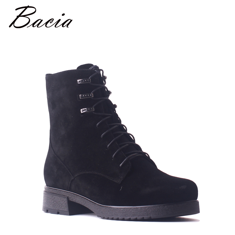 Bacia Women Kids Suede Boots Wool Fur Round Toe Short Boots Black Lace-Up Thick Heels Shoes Winter Warm Plush Ankle Boots SB100 round toe suede lace up mens boots
