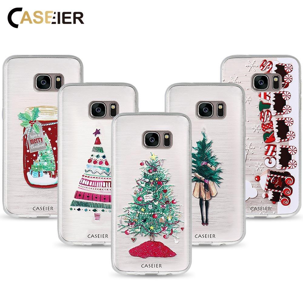 Galleria fotografica CASEIER Phone Case For Samsung Galaxy S7 S6 Edge S8 S9 Plus Soft TPU Merry Christmas Cover For Samsung Note 8 9 Shell Funda Case