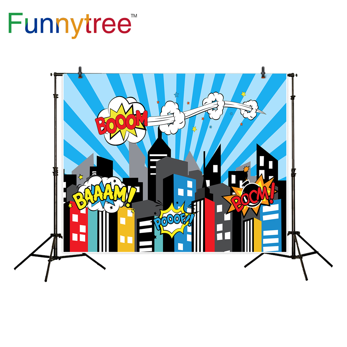 Funnytree photography background blue superhero building cartoon boom for boy birthday backdrop photocall photo studio printed funnytree photography backdrop tropical flamingo fruit theme pink birthday party background photo studio photobooth photo prop