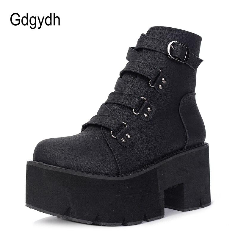 Gdgydh Printemps Automne bottines Femmes Plate-Forme Bottes semelle en caoutchouc Boucle Noir En Cuir PU talons hauts chaussures pour femme Confortable - 2