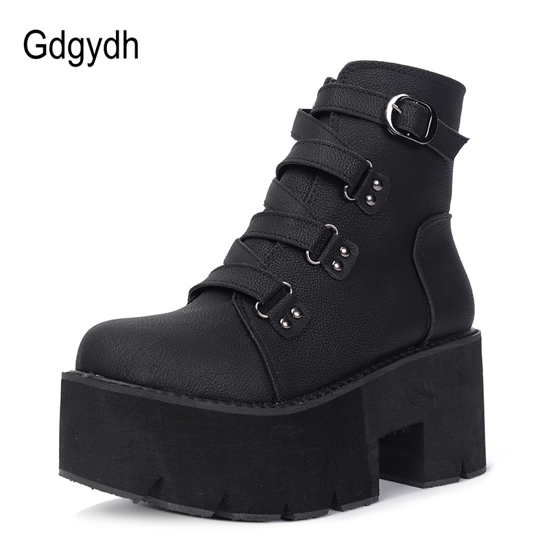 Gdgydh Spring Autumn Ankle Boots Women Platform Boots Rubber Sole Buckle Black Leather PU High Heels Shoes Woman Comfortable
