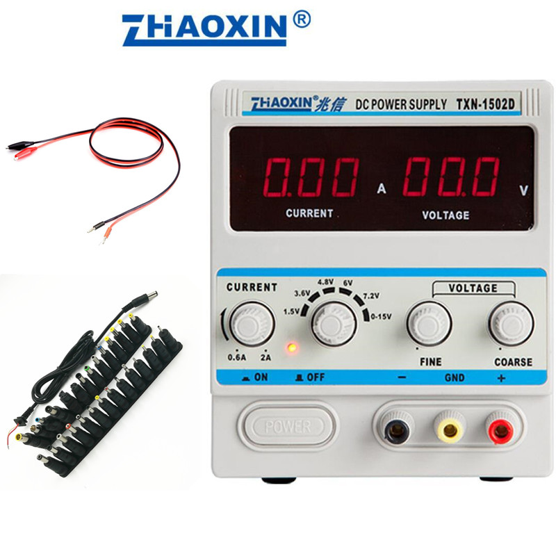 Adjustable DC Power Supply 15V 2A Power Cable Digital Mobile Phone Repair Power ZHAOXIN TXN-1502D With 29pcs DC adapter dps3003 adjustable dc digital control power supply 12v24v high power mobile phone maintenance power suites dc depressurization m