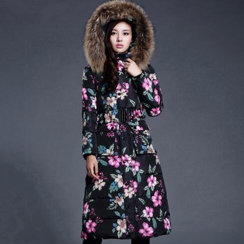 ФОТО Winter Jacket Women Vintage Print Fur Collar Hooded Long Outwear Parkas Feminino Downs Padded Coat