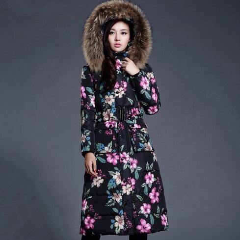 Winter Jacket Women Vintage Print Fur Collar Hooded Long Outwear   Parkas   Feminino Downs Padded Coat
