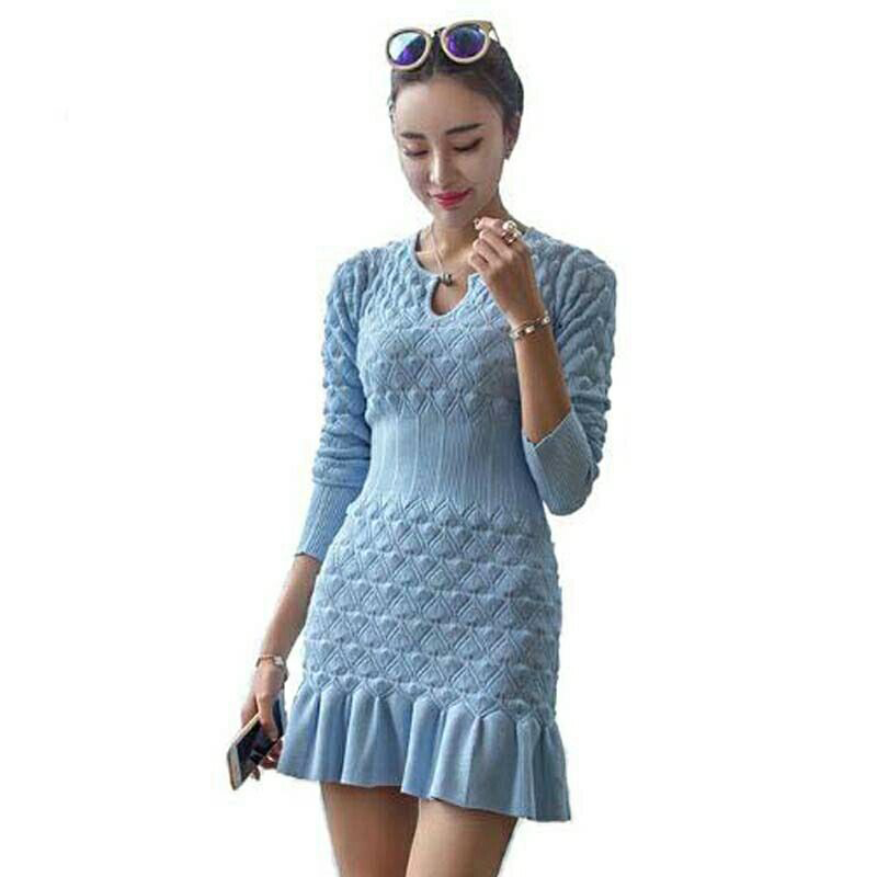 Winter Ruffle Sweater Dress Women Casual Long Sleeve Knitted Dresses Party Packhip Sheath Knit stretch Sweaters Vestidos korean