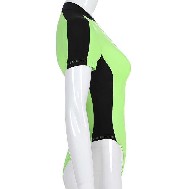 Darlingaga уличная неоновая зеленая боди для женщин боди на молнии в стиле пэчворк Лето неоновый бодик короткий рукав комбинезон облегающий