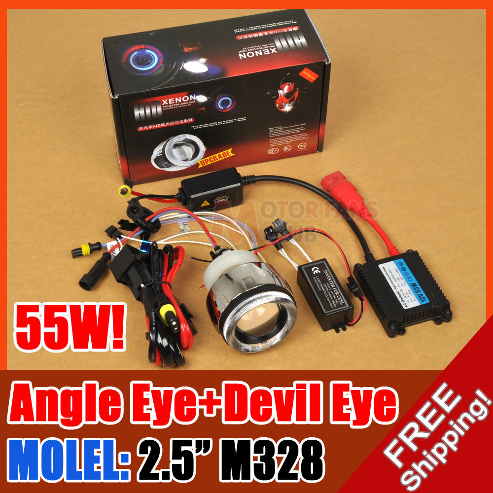ФОТО hot sale AC/55W 2.5  M328 MOTORCYCLE BIKE HID BI-XENON PROJECTOR LENS KIT ANGEL DEVIL EYE for free shpping