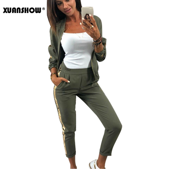 XUANSHOW 2020 Tracksuit Women Fashion Autumn Casual Sequin Sportswear Suit Zipper Cardigan Long Pant Two Piece Set Chandal Mujer