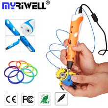 high quality 3D Printing Pen1.75mm ABS/PLA Smart 3D Pen Drawing Pen+Free Filament+Adapter Creative Gift For Kids Design Painting