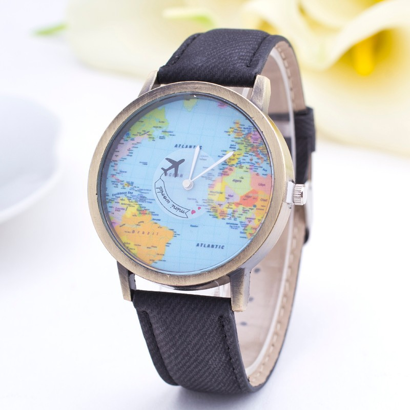 Nbsameng world map watch fashion casual design clock women men aeproducttsubject gumiabroncs Choice Image