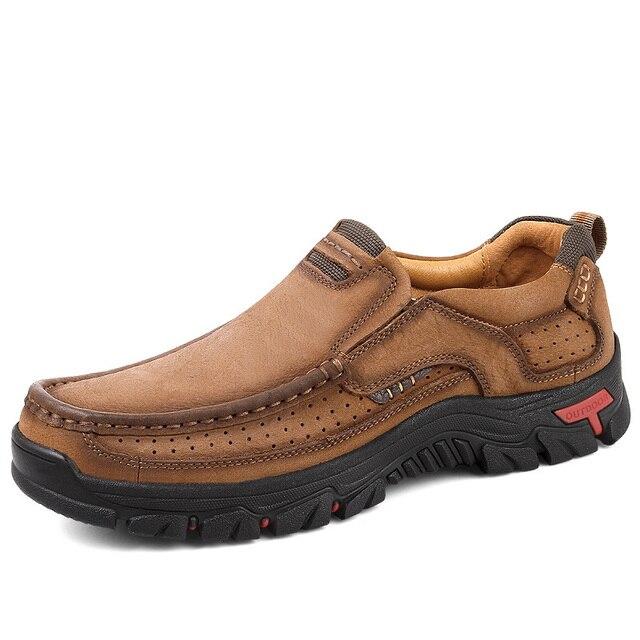EU38-48 100% אמיתי נעלי עור גברים פרה עור נעליים יומיומיות זכר חיצוני באיכות גבוהה גברים דירות הליכה שרוכים איש הנעלה