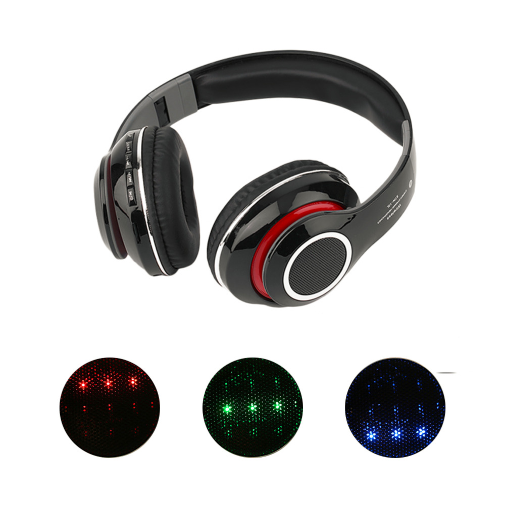 High Quality Wireless Bluetooth LED Stereo Bass TF/FM Built-In Headphone Smart Power Save Mode Noise Isolation Headphone