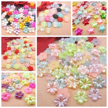 Free Shipping Mixed Color 72Pcs Craft ABS Flower Imitation Pearls Resin Scrapbook Beads Decorate Diy