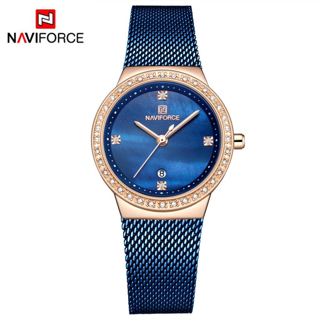 NAVIFORCE Fashion Brand Female Quartz Watch Stainless Steel Mesh Belts Elegant Ladies Watches Creative Luxury Dial Reloj Mujer
