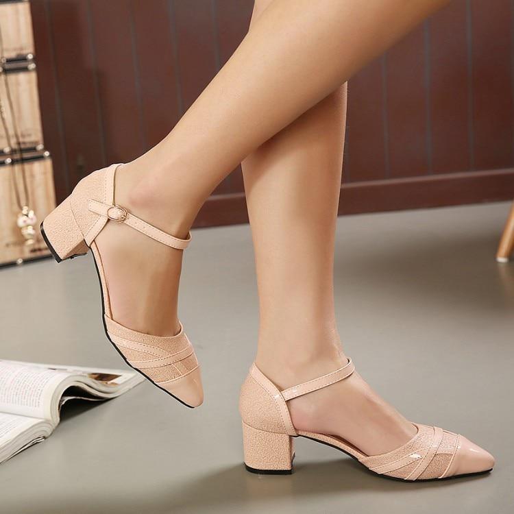 f5e7441a1a013f ... Femmes sandales moyen talon epais talon ferme orteils PU couleur unie  mode pompes chaussures
