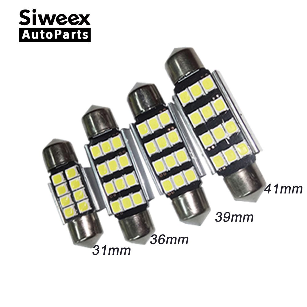 2 Pcs New 31mm 36mm 39mm 41mm <font><b>12</b></font> <font><b>SMD</b></font> <font><b>2835</b></font> C5W CANBUS No Error Led Car License Plate Lights Dome Reading Lamp White DC 12V image