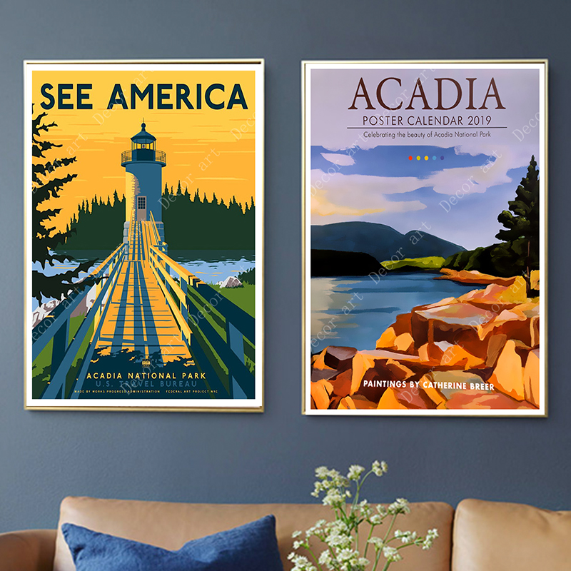 Pop America Acadie National Park Travel Canvas Painting Vintage Wall Kraft Posters Coated Wall Stickers Home Decor Pictures Gift Painting Calligraphy Aliexpress
