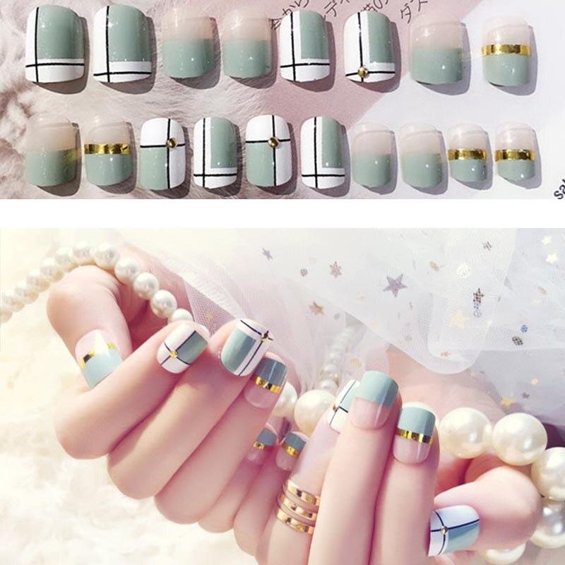 Hot sale 24pcs Women Fake Nails Simple Strip Pattern DIY Manicure False Decals