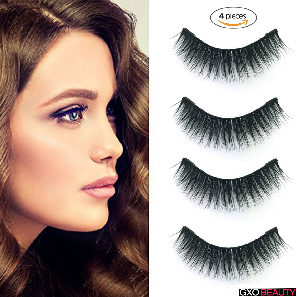 GXO BEAUTY 4pcs New Easy Wear 3D Double Magnet Soft Hair Reusable Thin Natural False Eyelashes-D3