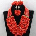 Abalorios de lujo de Nigeria Boda Africana de Coral Perlas Joyería Conjunto 2017 CNR501 Nupcial Joyería de la India para Las Mujeres Coral Envío Libre