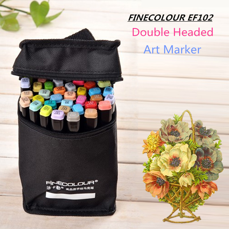 Finecolour EF102 Double tête brosse souple à base d'alcool marqueur d'encre professionnel croquis peinture Art marqueurs stylo