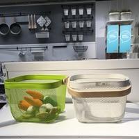 Kitchenroom accessories storage baskets fruits washing baskets with handgrip household organizer kitchen tools