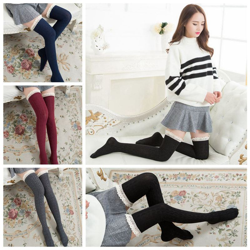 1 Pair Womens Winter Warm Over The Knee Thigh Sock Ladies Cotton Jacquard Comfortable Flower Stitching Socks YYY9815