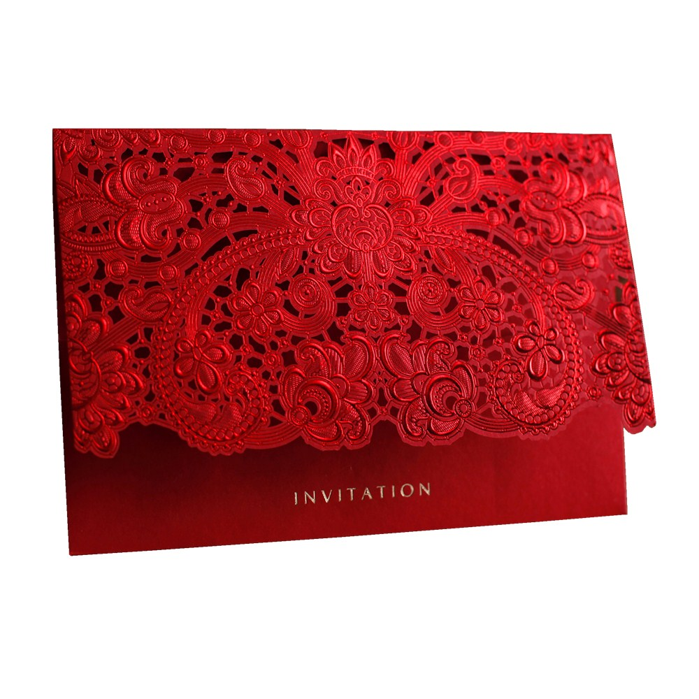Pink Red Gold Wedding Cards for Guests with Free Print Gift Card Elegant Laser Cut Wedding