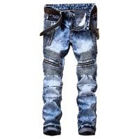 Men Hip Hop Ripped Slim Jeans New Fashion Man Holes Jeans Pants High Street Motorcycle Biker Jeans For Men
