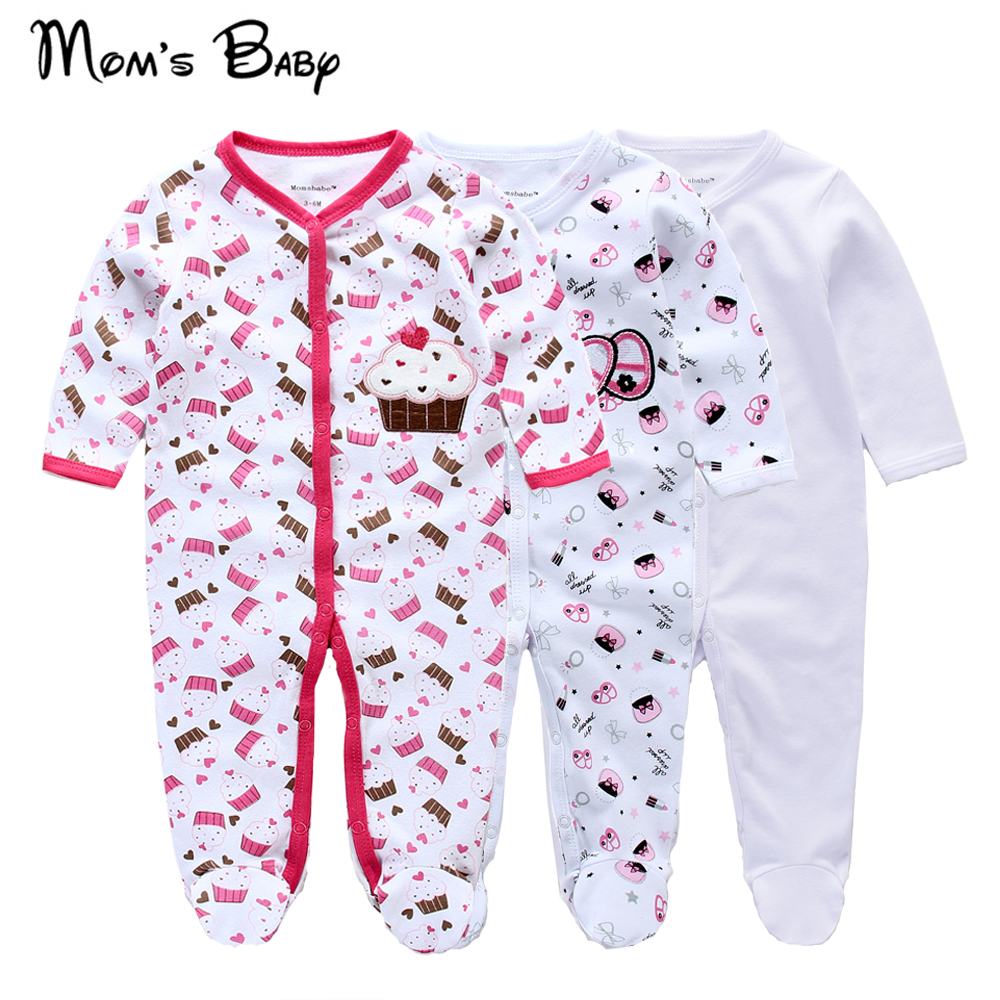 New born baby boy girl clothes footed rompers baby ropmer Long cotton sleep shirts
