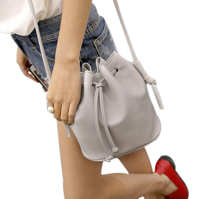 2017 New Fashion Women Handbag Small Bucket Shape Women Messenger Bags Female Handbags PU Leather Shoulder Crossbody Bag Bolsa 2016 women fashion brand leather bag female drawstring bucket shoulder crossbody handbag lady messenger bags clutch dollar price