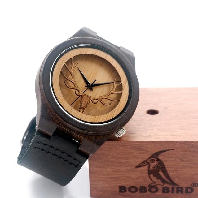 Zegarek drewniany BOBOBIRD motyw jelenia