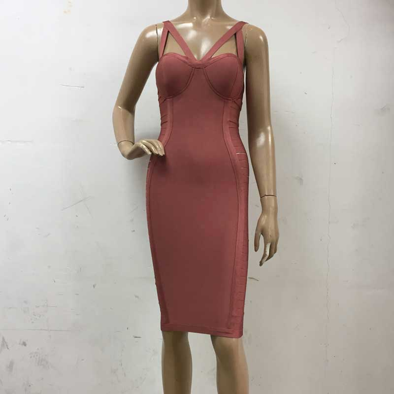 wholesale New style dress Brown color Spaghetti Strap Hollow Out Stretch tight fashion Cocktail party bandage dress (H1601)