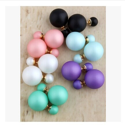 new fashion Cheap Price Fashion Double Sides Matt Candy Color Round Ball Stud Earrings For Lady free shipping crystal jewelry
