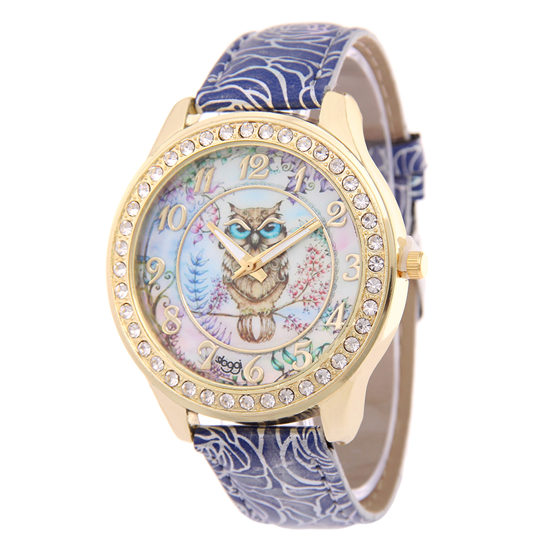2017 fashion printing leather watch women owl pattern diamonds casual wristwatch high quality watch relogio feminino ceasuri
