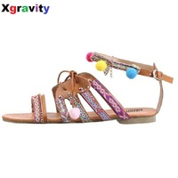 2017 Hot Sales Lady National Style Women Sandals Bohemia Flats Beaded Size Foreign Trade Shoes Summer