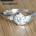 1 Ct GH Color Mathing Eternal Moissanite Diamond Ring For Women Bijoux Femme Natural Diamond Accents Solid 14K 585 White Gold