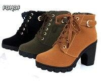 מגפי אופנה עקבים גבוהים שחורים נשים דירות נעלי אבזם החגורה מזדמן נקבת מגפי Botas מגפי קרסול פלטפורמה לנשים נעל