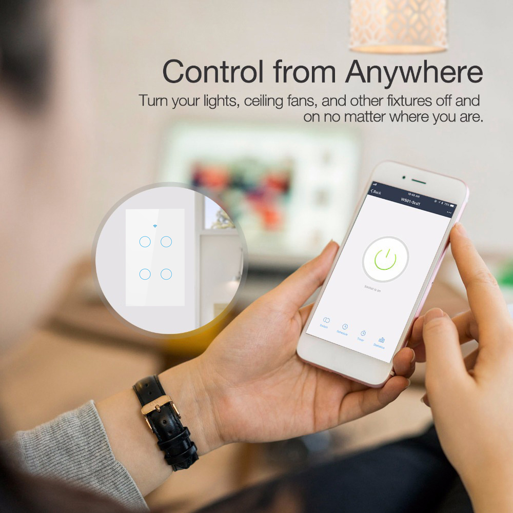 Lonsonho US Wifi Smart Switch 4 Gang Smart Life Tuya APP Smart Wall Touch Light Switch Works With Alexa Google Home Mini IFTTT in Home Automation Modules from Consumer Electronics