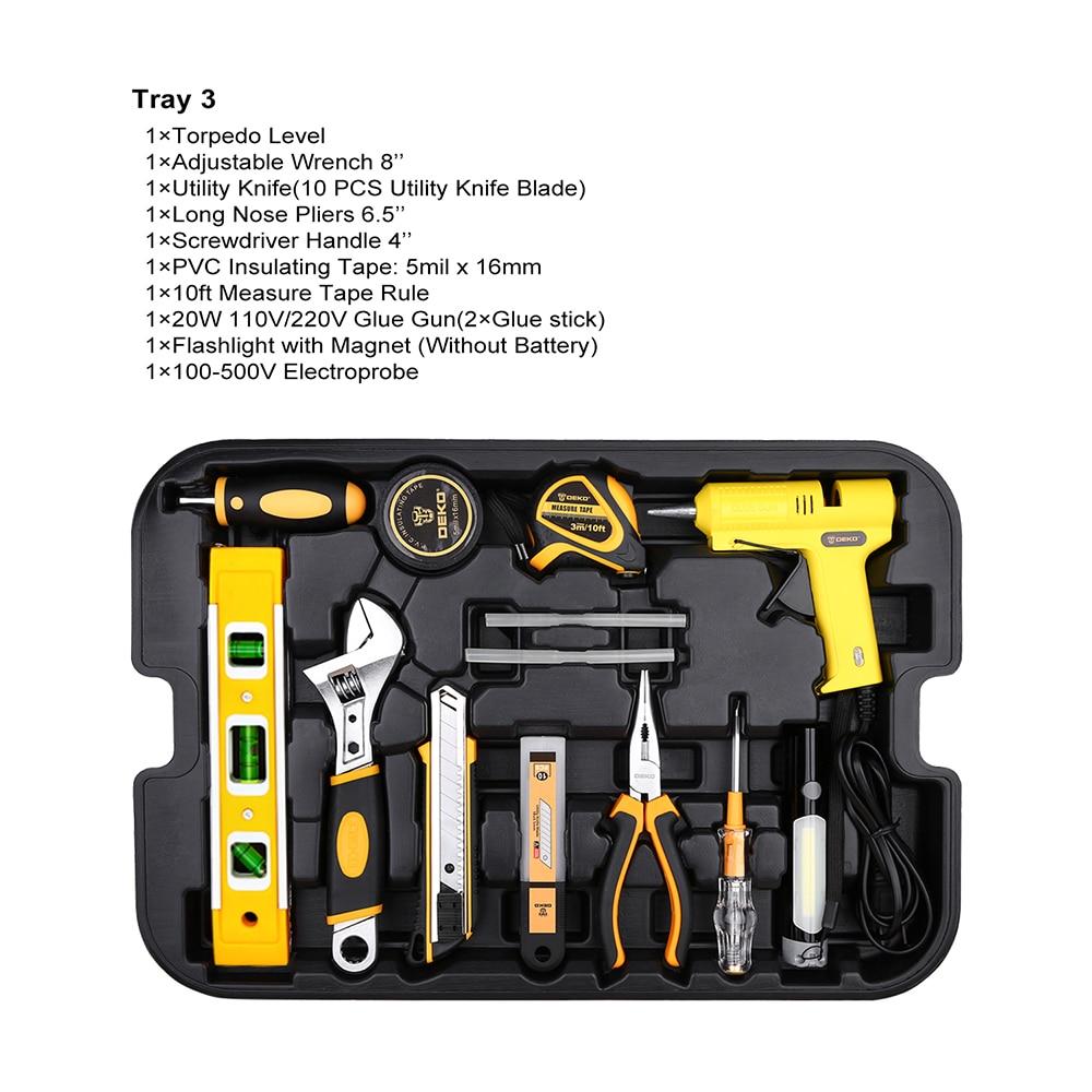 DEKO 255 Pcs Werkzeug Set mit Roll Werkzeug Box Metrische Steckschlüssel Hand Tool Kit Lagerung Fall Steckschlüssel Schraubendreher messer - 4