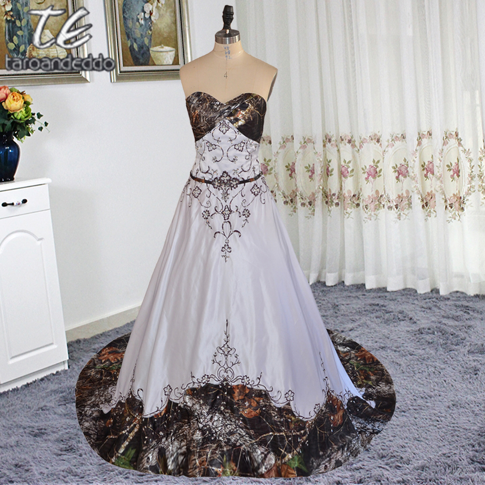 35f3f65a90f9e Strapless Embroider Chocolate Lace Crystals A-line White Satin Camo Wedding  Dress Colorfully Tie Back Camouflage Bridal Dresses